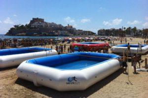 Eventos y Torneos WaterVolley Spain® en Peñiscola de mano de WSP® con 4 piscinas deportivas profesionales situadas en la playa al lado del paseo maritimo