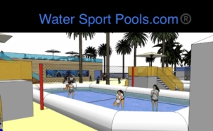 Chicas y chicos jugando al watervolley dentro de una piscina deportiva profesional water sport pools® en un entorno deportivo exclusivo