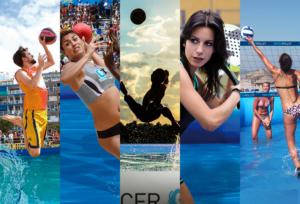Combinación de imágenes de deportes acuáticos de WaterSportPools: Watervolley, Waterhandball, Watersoccer, Watertennis y Waterbasket