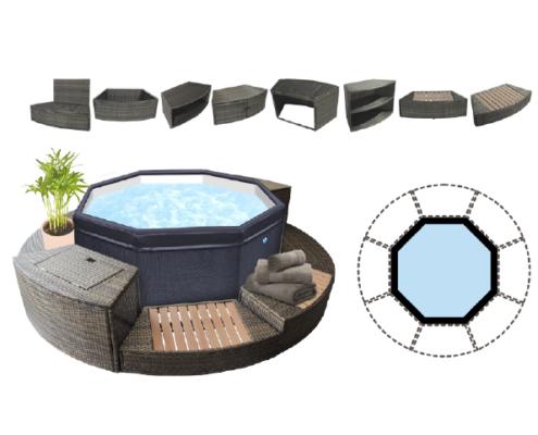 Spa jacuzzy Octogonal portatil modulable con muebles alrededor