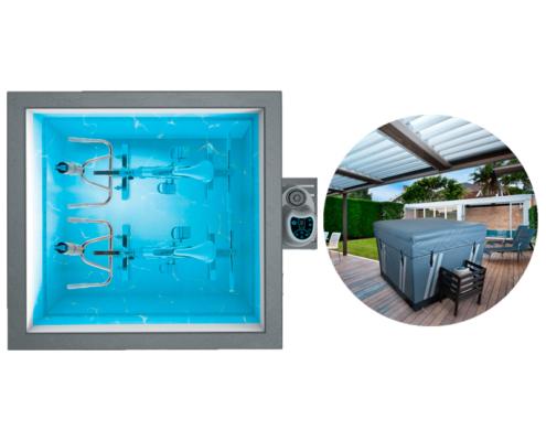 Piscina waterfitness con bomba de calor y dos bicicletas dentro del agua y foto con imagen de la piscina con una funda