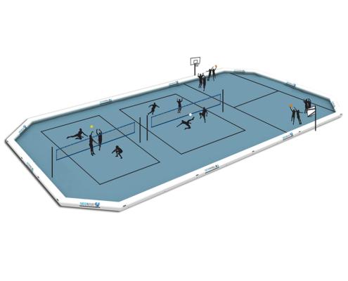 Piscinas WSP 2000 MUL de gran formato con tres disciplinas deportivas watervolley, waterfootvolley y waterbasket