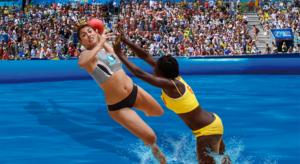 dos jugador de waterhandball en plena acción de ataque y defensa en una de nuestras piscinas deportivas profesionales Water Sport Pools®
