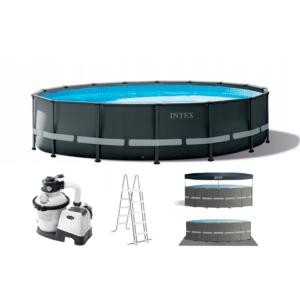 Piscina desmontable redonda con accesorios, depuradora escalera, suelo protector y cover , foto con fondo blanco