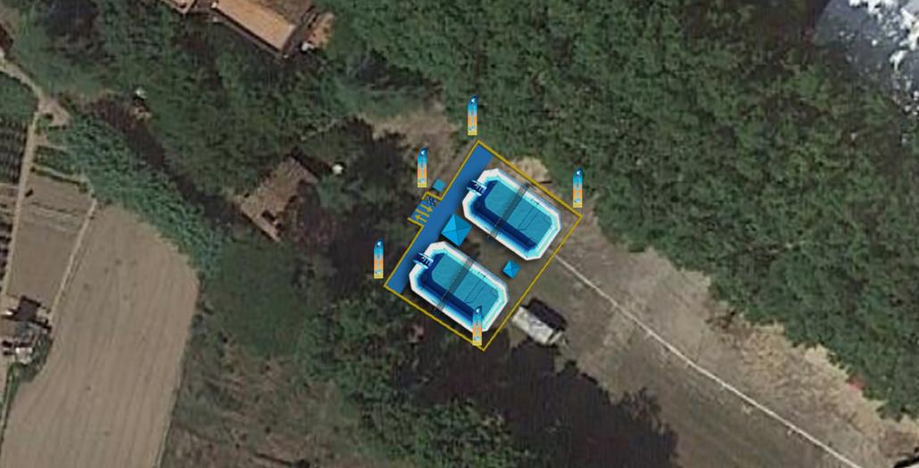 montaje de dos pistas de watervoley con perímetro de seguridad