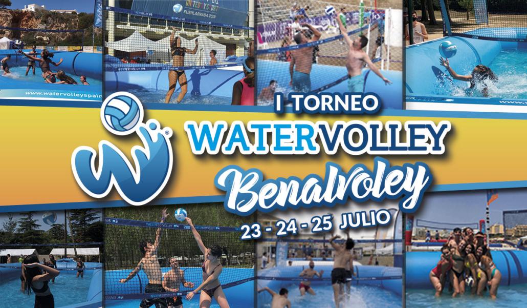 ocho fotos de jugadores y jugadoras jugando al watervolley y en medio titulo I Watervolley Benalvolley